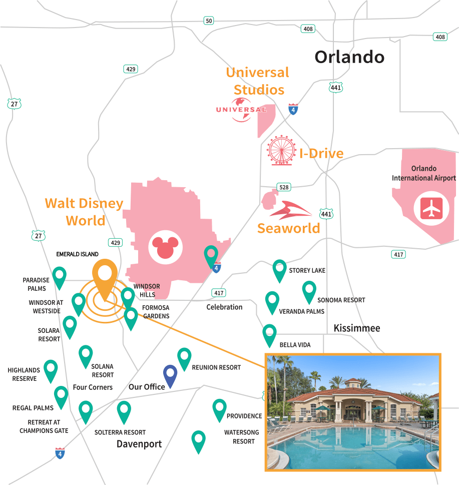 Emerald Island Resort Location Map