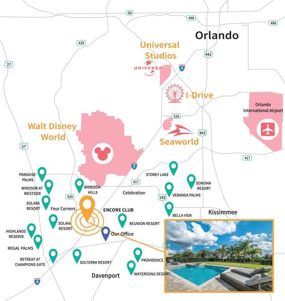 Encore Club Resort Location Map