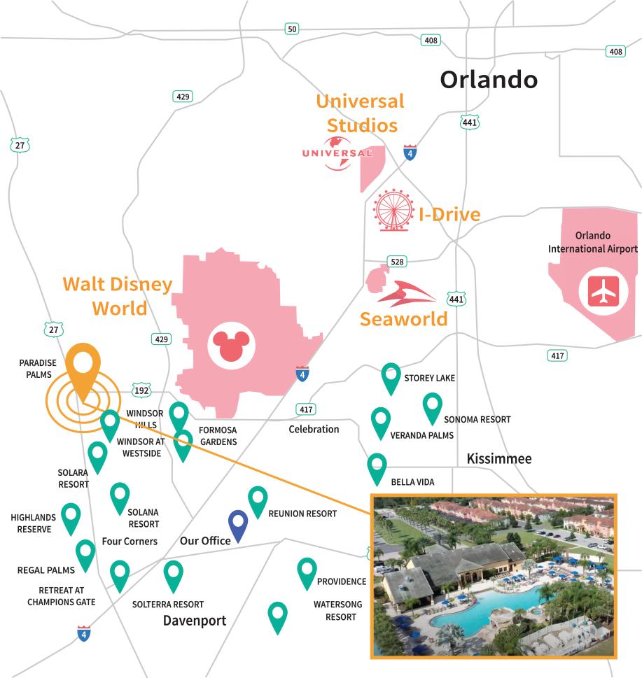 Paradise Palms Resort Location Map