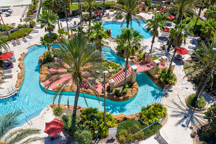 Aerial of lazy river and resort pool