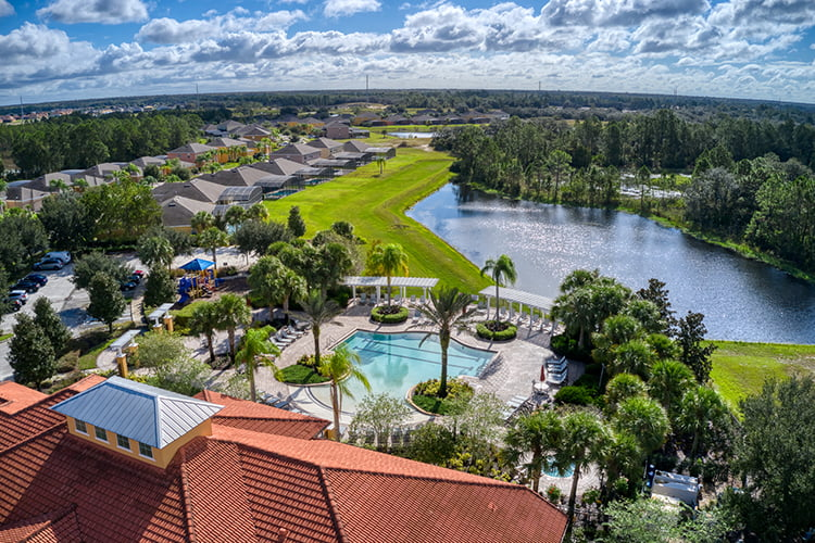 Aerial of Watersong Clubhouse and Pool