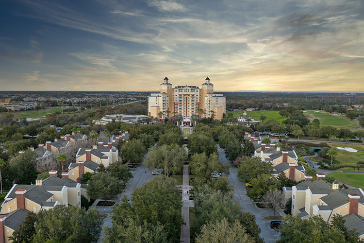 Aerial Twilight view of the Grande